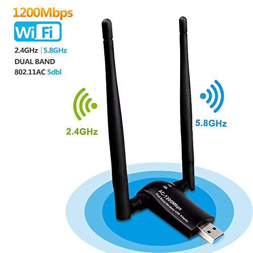 USB Wifi 1200Mpbs SUMGOTT Antera Adaptador Wifi USB 3.0 Inalámbrico Dual Band Soporte de 5Ghz 867Mbps para PC con Windows XP / Vista / 7/8/10,  Max OSX