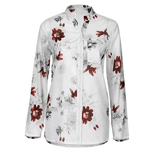 Damen Blusen Elegante Oberteile V-Ausschnitt Tops Casual Hemd Langarm Shirt Casual Tunika Sexy Bedruckte Tasche Plus Size Blusenshirt,S-5XL