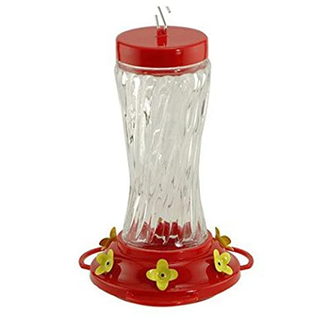 WOODLINK - Bird Feeder, Hummingbird, Clear Swirl Glass, 3-Perch,