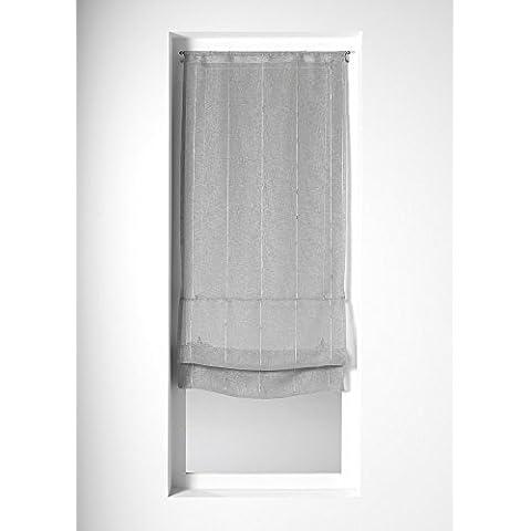 Home Maison 03207-2-AL-Coppia di tende in mussola di cotone, motivo a righe, Grigio, 45x200