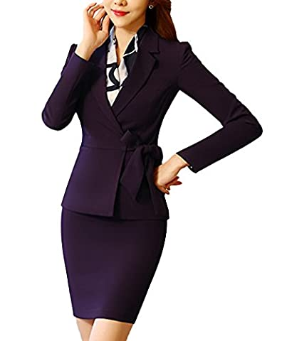 SK Studio Women's 2 Piece Formal Skirt and Belt Blazer Suits Suits Purple 8