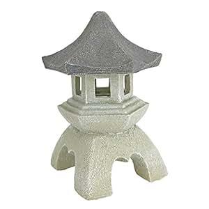 Design Toscano Complemento d'arredo in stile asiatico Lanterna pagoda Statua da esterni, poliresina, pietra bicolore, Media 25,5 cm