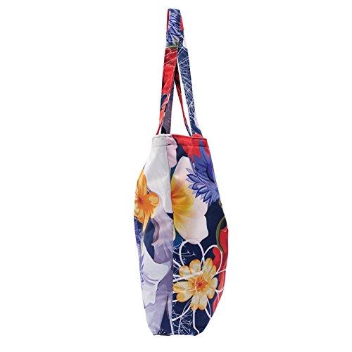 Tasche Schultertasche Reise Shopping Bag, abgefüttert - aus Webstoff Print Design Galaxy Flower Farbe 0302-16 - Cobalt 0302-14 - petrol