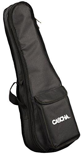 CASCHA Sopran Ukulelen Tasche mit Extrafach für Zubehör (z.B. Noten, Stimmgerät), Schultergurt, Tragegriff, 5mm Polsterung