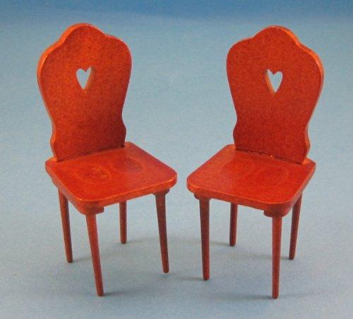 Preisvergleich Produktbild Zwei Miniatur Küchenstuehle Stuhl Holz braun 1:12 für Puppenhaus