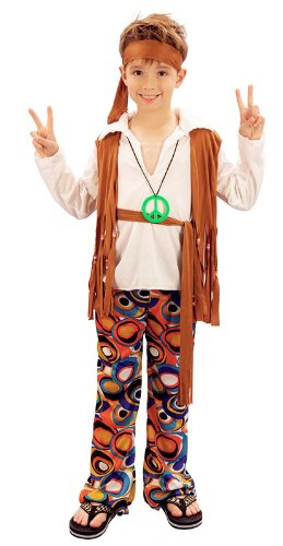 Kinder Kostüm Hippie Boy 60 's 70' s Flower Power Outfit (Child Flower Kostüm 70's)