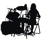 Wadeco Drummer Wandtattoo Wandsticker Wandaufkleber 35 Farben verschiedene Größen, 100cm x 88cm, lichtblau
