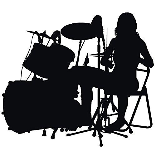 Wadeco Drummer Wandtattoo Wandsticker Wandaufkleber 35 Farben verschiedene Größen, 140cm x 121cm, grün