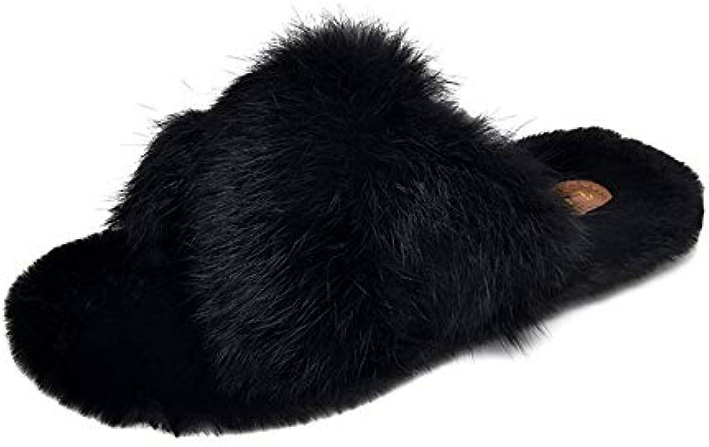 Zhangcaiyun Chaussures de Loisirs Pantoufles Plates Plates Pantoufles à Bout Ouvert pour Femmes l'hiver (Couleur : Noir, Taille...B07K1SBK4PParent 1a9365