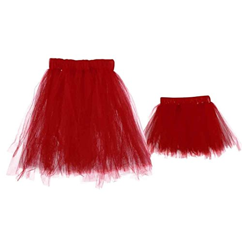 Bekleidung Longra 1SET Mon and 0 ~ 6 Monate Baby Tutu Kleider Kostüm Foto Fotografie Prop Outfits Hauchrock (Red) Red One-piece-outfit
