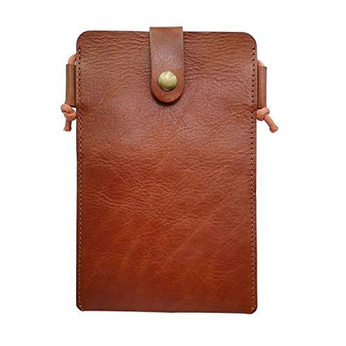 Handy-Tasche/Geldbörse aus echtem Leder für iPhone X / 8/7 / 6 / 6S Plus mit Schultergurt, Mini-Umhängetasche, Braun (Cognac), Small