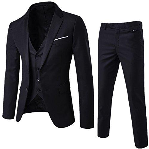 Herren Anzug 3 Teilig Slim Fit 2-Knopf mit Weste Sakko Anzughose Business Smoking Hochzeitsanzug von Harrms,Schwarz,EU 42