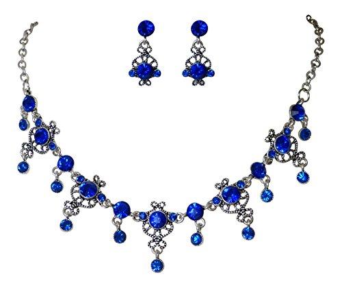 Trachtenschmuck Dirndl Ornament Kristall Collier Set – Kette und Ohrringe – Sapphire blau...
