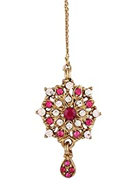 I Jewels Traditional Gold Plated Elegantly Handcrafted Stone Maang Tikka for Women T1023Q (Rani/Dark Pink & Green)