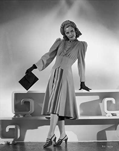 The Poster Corp Barbara Stanwyck Standing in Dress with Gloves and Heels Classic Portrait Photo Print (20,32 x 25,40 cm) Barbara Heels