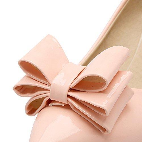 AllhqFashion Femme Tire à Talon Correct Verni Couleur Unie Pointu Chaussures Légeres Rose