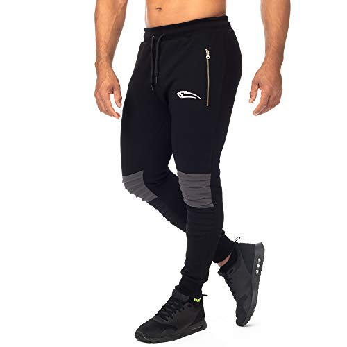 SMILODOX Herren Jogginghose Herren 'Resistance'| Trainingshose für Sport Fitness Gym Training & Freizeit | Sporthose - Jogger Pants - Sweatpants Hosen - Freizeithose Lang, Farbe:Schwarz, Größe:S