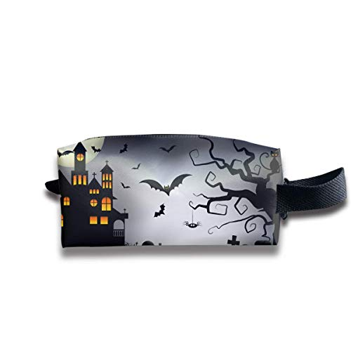 Cartoon Spooky Halloween Women Cosmetic Bag Travel Girls Oxford Toiletry Bags Cool Portable Hanging Organizer Makeup Pouch Pencil Case