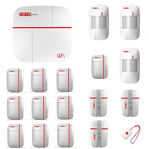 SZABTO GSM und WiFi Home Security Alarm-System zur Absicherung von Türen oder Fenstern über Magnetkontakte und Räumen über Bewegungsmelder mit Fernbedienungen -