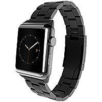 Monowear MWMLBK22MTDG-Bracelet métal avec fermeture en acier inoxydable Mat pour Apple Watch 42 mm Noir