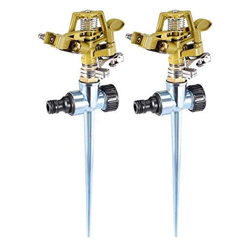 COMEYOU 2 Stück pulsierende Impact Sprinkler auf Metall Step Spike einstellbar 0-360 Grad Muster -