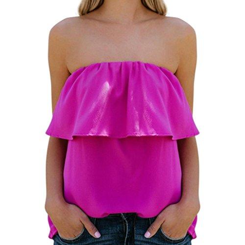 ESAILQ Frauen Sommer Cool Lässiges ärmelloses Gefaltetes Mehrlagen Chiffon Cami Tank Top(S,Heißes Rot) (50er Jahre Bowling-shirt)