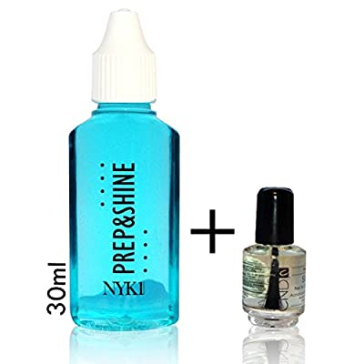 NYK1 PREP&SHINE 30ml Sticky Residue Remover Super Concentrate Nail Sanitiser PLUS CND SHELLAC MINI SOLAR OIL PACK for UV/LED GEL NAILS