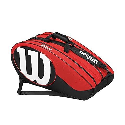 Wilson Unisexe Sac de Tennis, Pour Joueur Expérimenté, Match II 12PK, Taille Unique, Noir/Rouge, WRZ820612 - Wilson Racket Sports