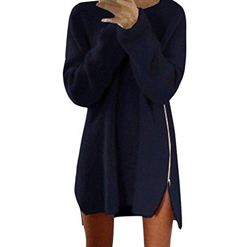 LAEMILIA Robe Pull Femme Hiver Zippé Manche Longue Souple Lâche Tunique Blouse Tricot Chandail Chaud Bleu Marine
