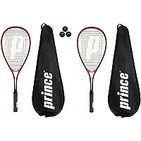 2 x Prince Power Warrior Ti Squash Rackets + Covers + 3 Squash Balls RRP £130
