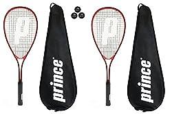 2 X Prince Power Warrior Ti Squash Rackets + Covers + 3 Squash Balls