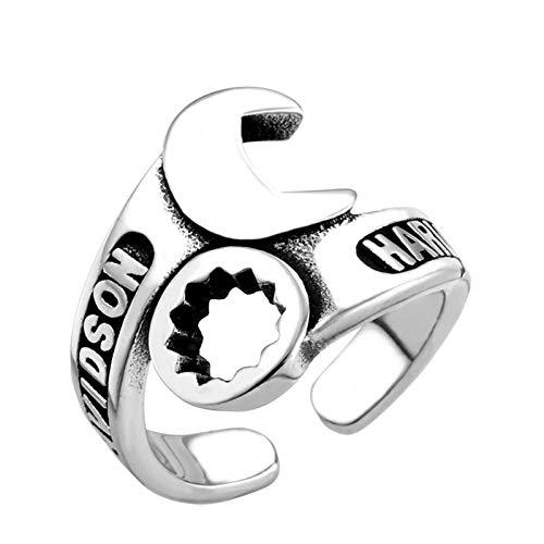 KnBoB Edelstahl Herren Ring Buchstaben Schraubenschlüssel Silber Punk Herrenring Freundschaftsringe Silber Größe 54 (17.2)