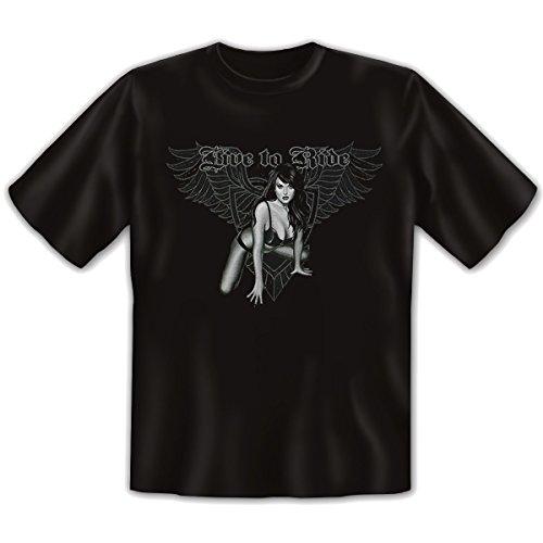 Biker - Damen und Herren T-Shirt mit dem Motiv: Live to ride Größe: Farbe: schwarz - von van Petersen Shirts Schwarz
