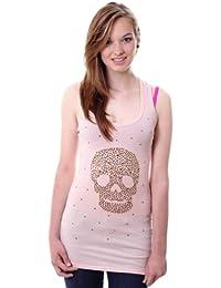 CASPAR FASHION Damen Shirt / Longshirt mit Totenkopf / Nieten / Strass - viele Farben