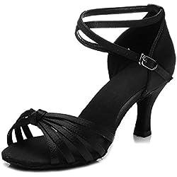 HIPPOSEUS Donna Ballroom Scarpe da ballo /sala da ballo scarpe/Scarpe da ballo latino standard di Raso,IT217-7,Nero,EU 38.5