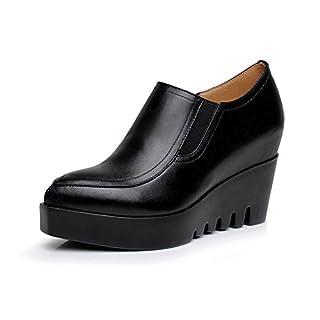 KALENDS Ladies Genuine Leather Cobbies Plus Size Work Shoes Elevator Shoes
