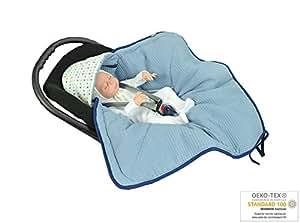 MOMIKA NEW Einschlagdecke, Universal für Babyschale, Autositz, für Kinderwagen, Buggy oder Babybett, aus Waffelpique (Blue)