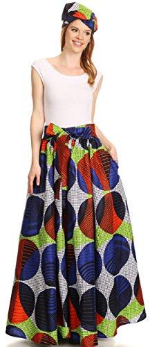 Sakkas Asma Convertible Traditionelle Wachsdruck verstellbaren Riemen Maxirock   Kleid 307-WhiteMulti