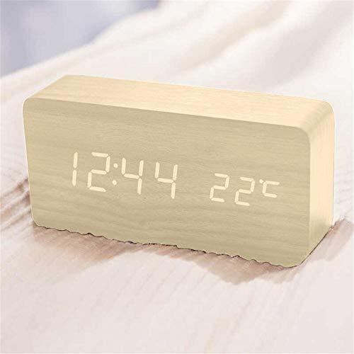 Queta LED Holz Wecker Digitalwecker Tisch Uhr Datum Temperatur Anzeige 12/24 Stunde (Bambus)