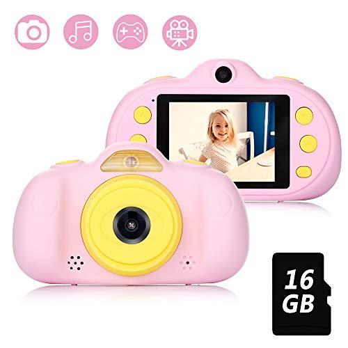 Fede Kinderkamera mit 16GB TF-Karte,wiederaufladbare Selfie Kamera für Kinder, Kinder Digital-Camcorder mit 2,4 Zoll Bildschirm,HD 8MP/1080P Doppellinse, stoßfeste Kamera mit Silikonhülle(Rosa)