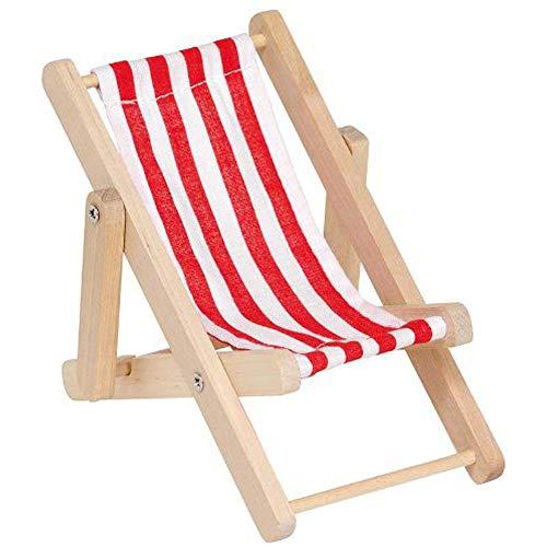 Bocotoer Miniliegestuhl,Holz,16 x 8 x 10 cm rot/weiß