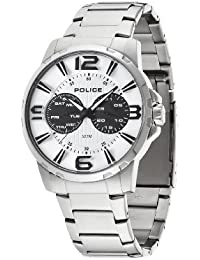 Police Men's Quartz Watch with White Dial Chronograph Display and Silver Stainless Steel Bracelet 14100JS/01M
