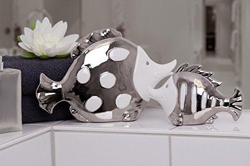 2tlg. Figurenset Fisch Fin Atlantik weiß silber Porzellan Bad Deko Figur Skulptur -