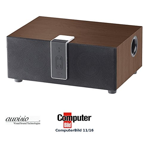 auvisio Aktiv Lautsprecher: WLAN-Multiroom-Lautsprecher mit Subwoofer, BT, Airplay, 80 W, walnuss (Audio Funkübertragungs Lautsprecher mit Airplay)