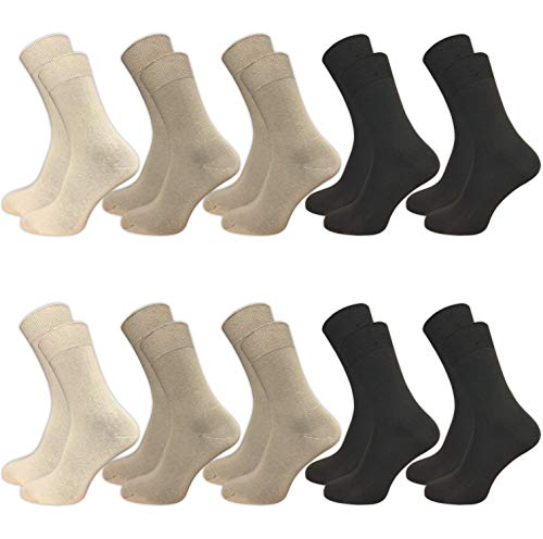 GAWILO 10 Paar Socken aus 100% Baumwolle für empfindliche Füße - ohne drückende Naht - Damen & Herren - venenfreundlicher Komfortbund (35-38, beige) -
