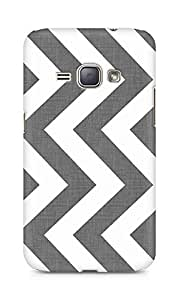 Amez designer printed 3d premium high quality back case cover for Samsung Galaxy J1 (2016 EDITION) (Grey and white texture chevron)