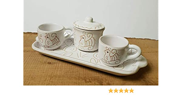 Set caff/è pavoncella sarda bianca per 2