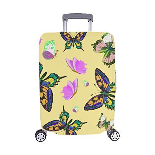 Bunte Schmetterlinge und Blumen Muster Spandex Trolley Reisegepäck Beschützer Koffer Cover 28,5 X 20,5 Zoll -