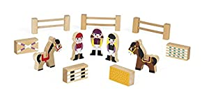 Janod Mini Story set de Figuras de madera, Centro Ecuestre (J08517)