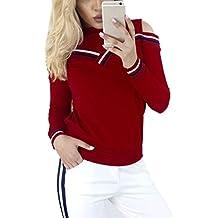 Koly Atractiva Mujeres Raya Patchwork empalmado Ronda manga larga Blusa Frío Hombro Camiseta tapas Algodón Color Bloquear Tops Tee Sweatshirt Sudadera para Pareja Blusas y camisas